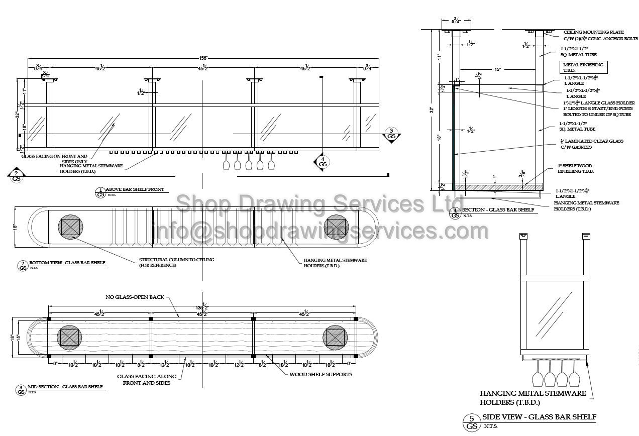 Cascade Floor Plan Custom Restaurant Millwork Shop Drawings