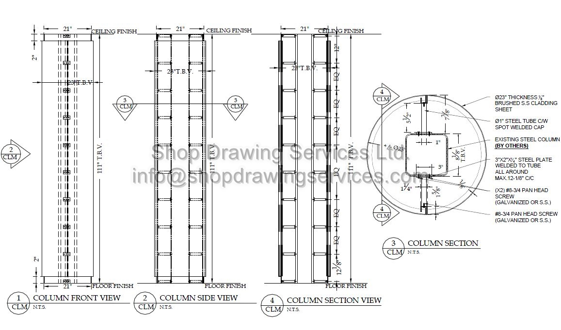 Stainless Steel Column Cladding Shop Drawings