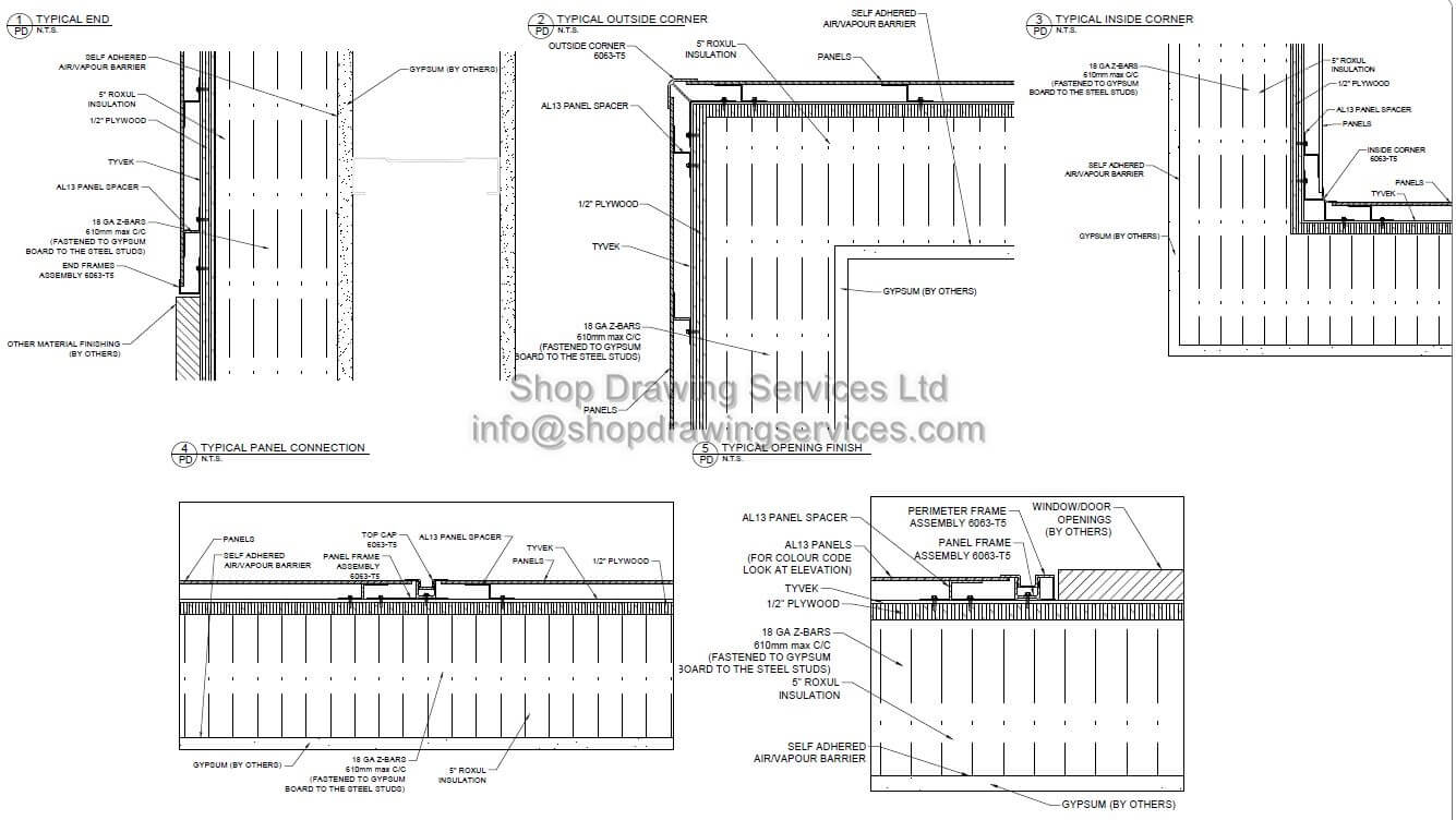 Metal Wall Cladding Details on millwork design drawings