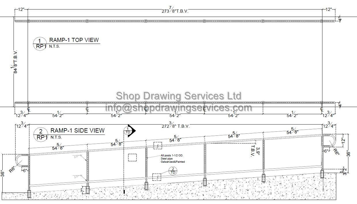 Pipe And Tube Ramp Railing Shop Drawings