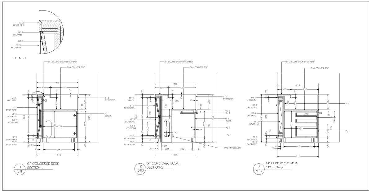 Commercial millwork shop drawing