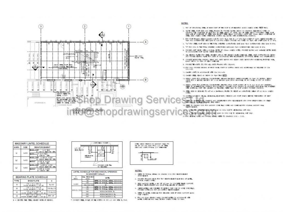 Roof Steel Structural Shop Drawings