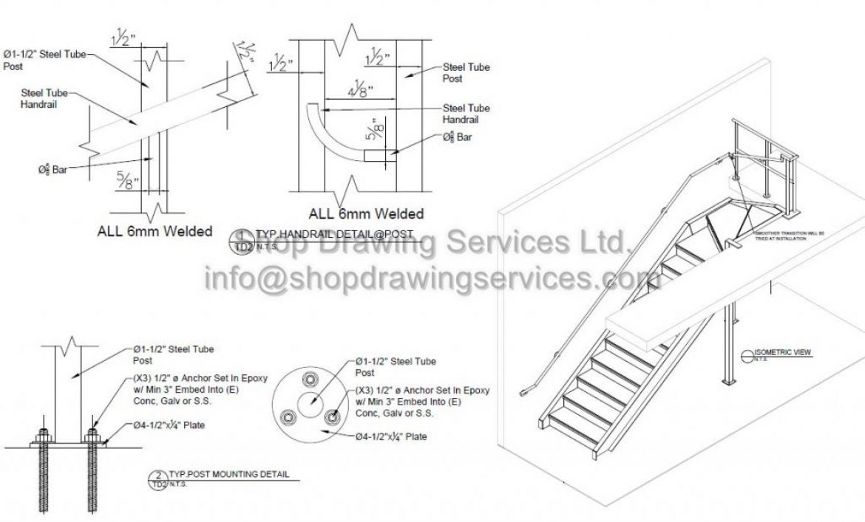 Steel Manufacturing Railing Shop Drawings