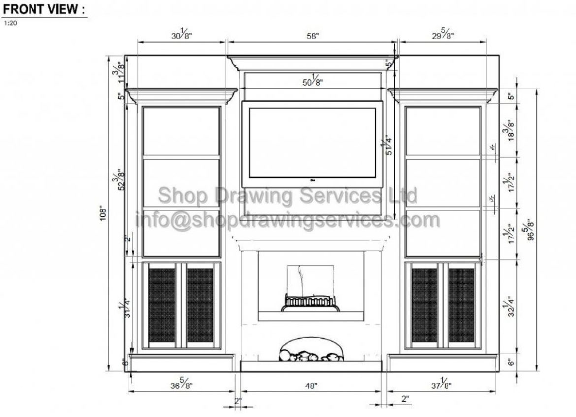 Built in Fireplace Cabinet Shop Drawings