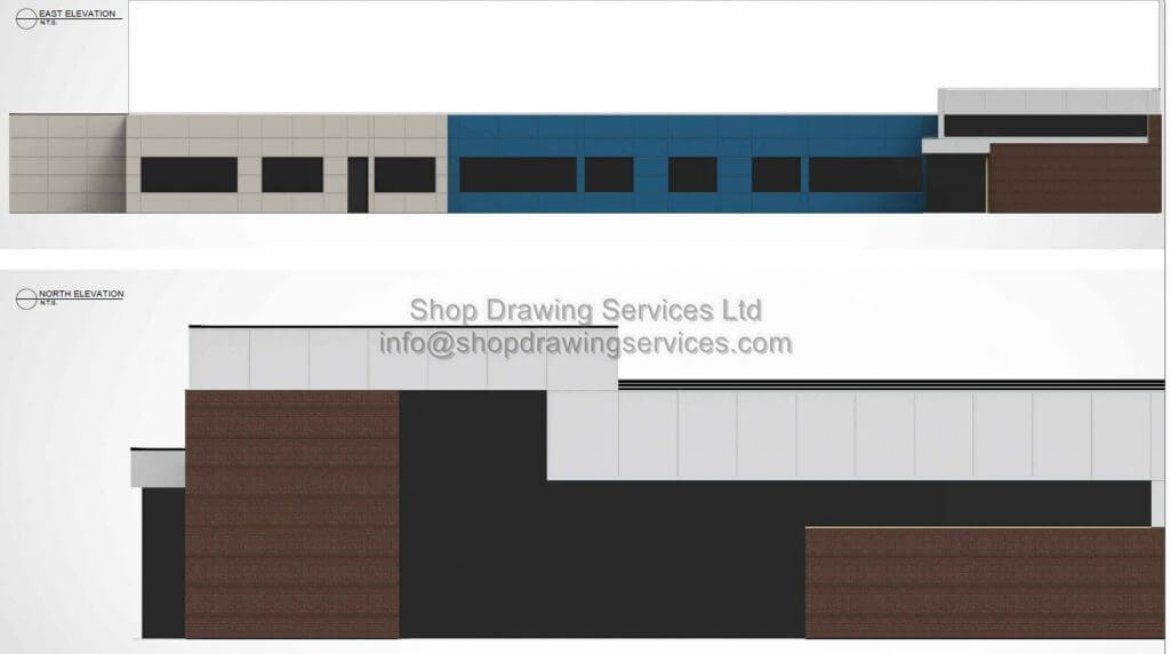 Commercial Metal Wall Cladding Rendering