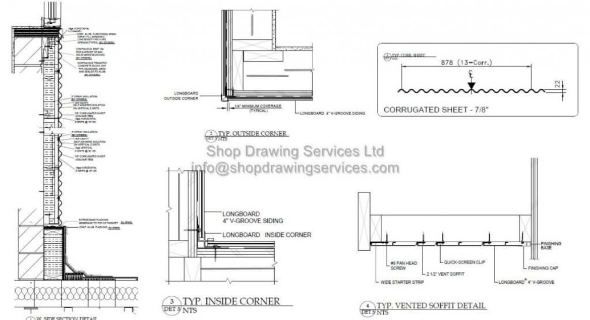 Corrugated Sheet Wall Cladding Shop Drawings