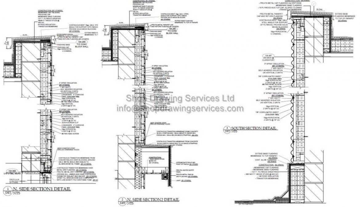 corrugated sheet wall cladding shop drawings detail