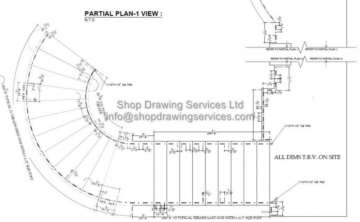 Curved Metal Railing Shop Drawings