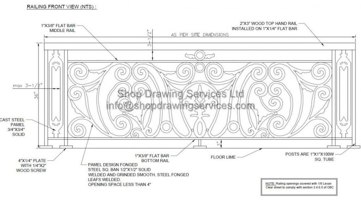 Custom Design Steel Railing Shop Drawings