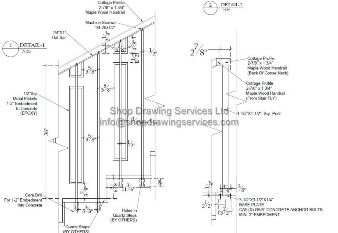 Detailed Railing Shop Drawings