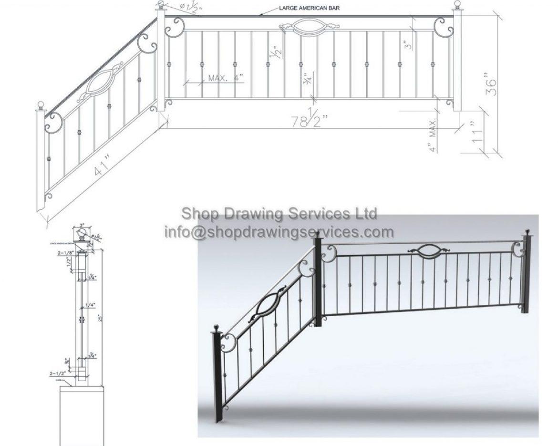 Entry Ornamental Railing Shop Drawings