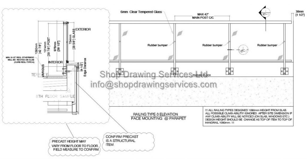 High Rise Aluminum Railing Shop Drawings