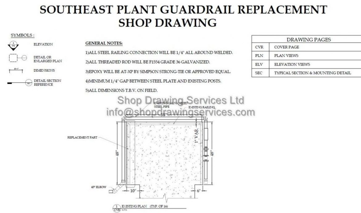 Industrial Pipe Rail Shop Drawings