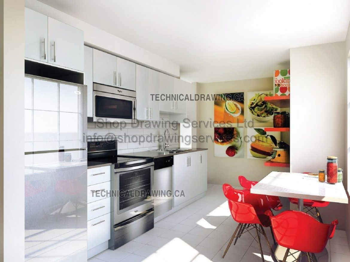 3D Kitchen Rendering Drawings