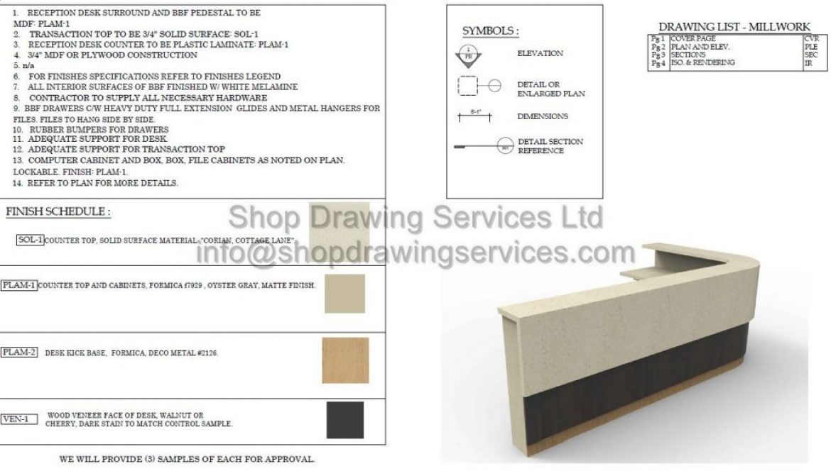 Reception Desk Millwork Shop Drawings