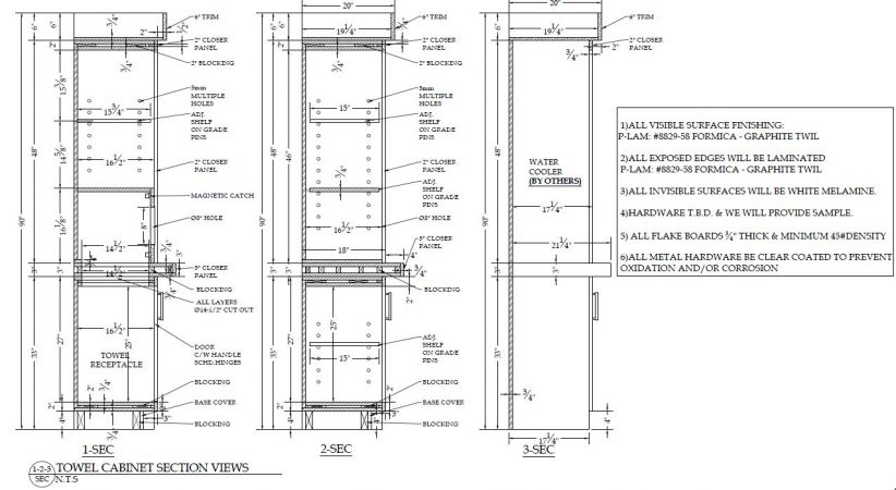 millwork shop drawing sections