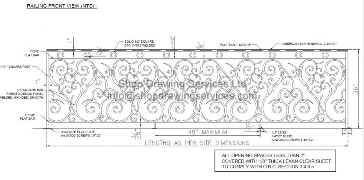 Ornamental Railing Shop Drawings