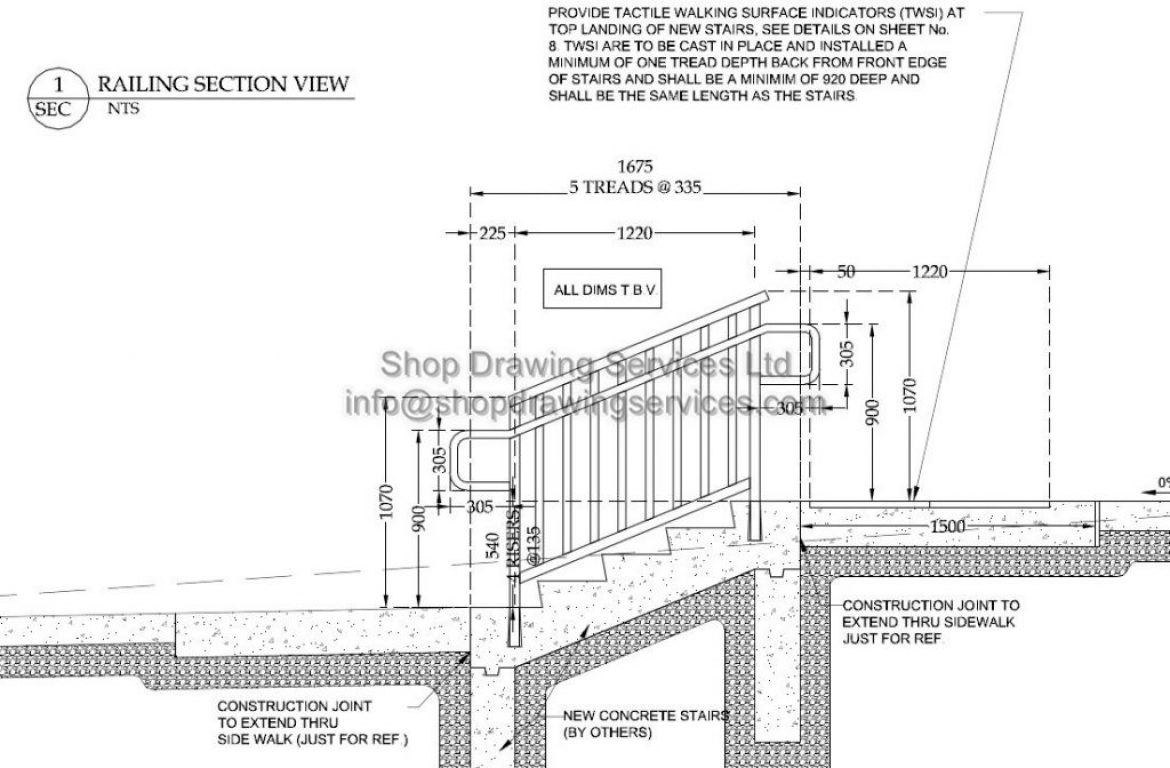 Outside SS Railing Shop Drawing