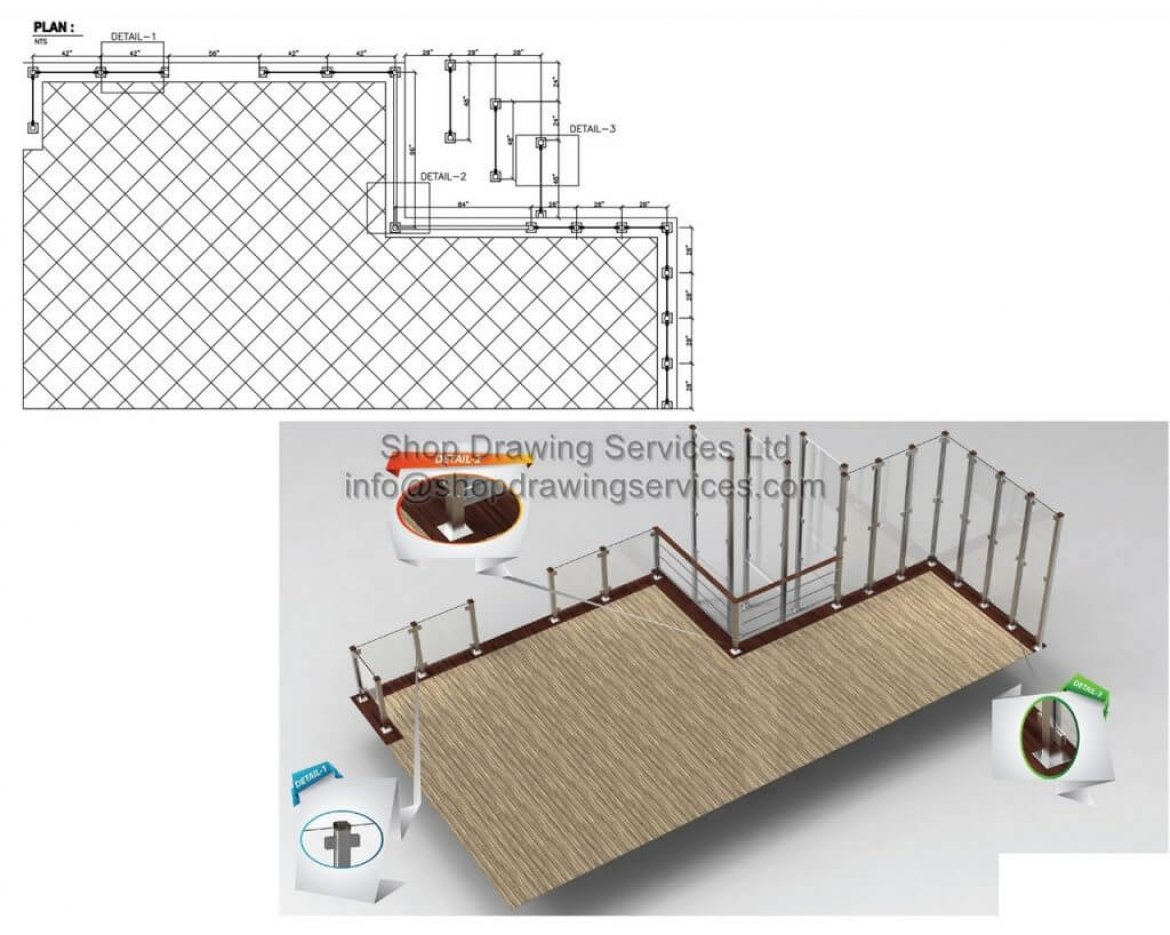 Outside Stainless Steel Railing Shop Drawings
