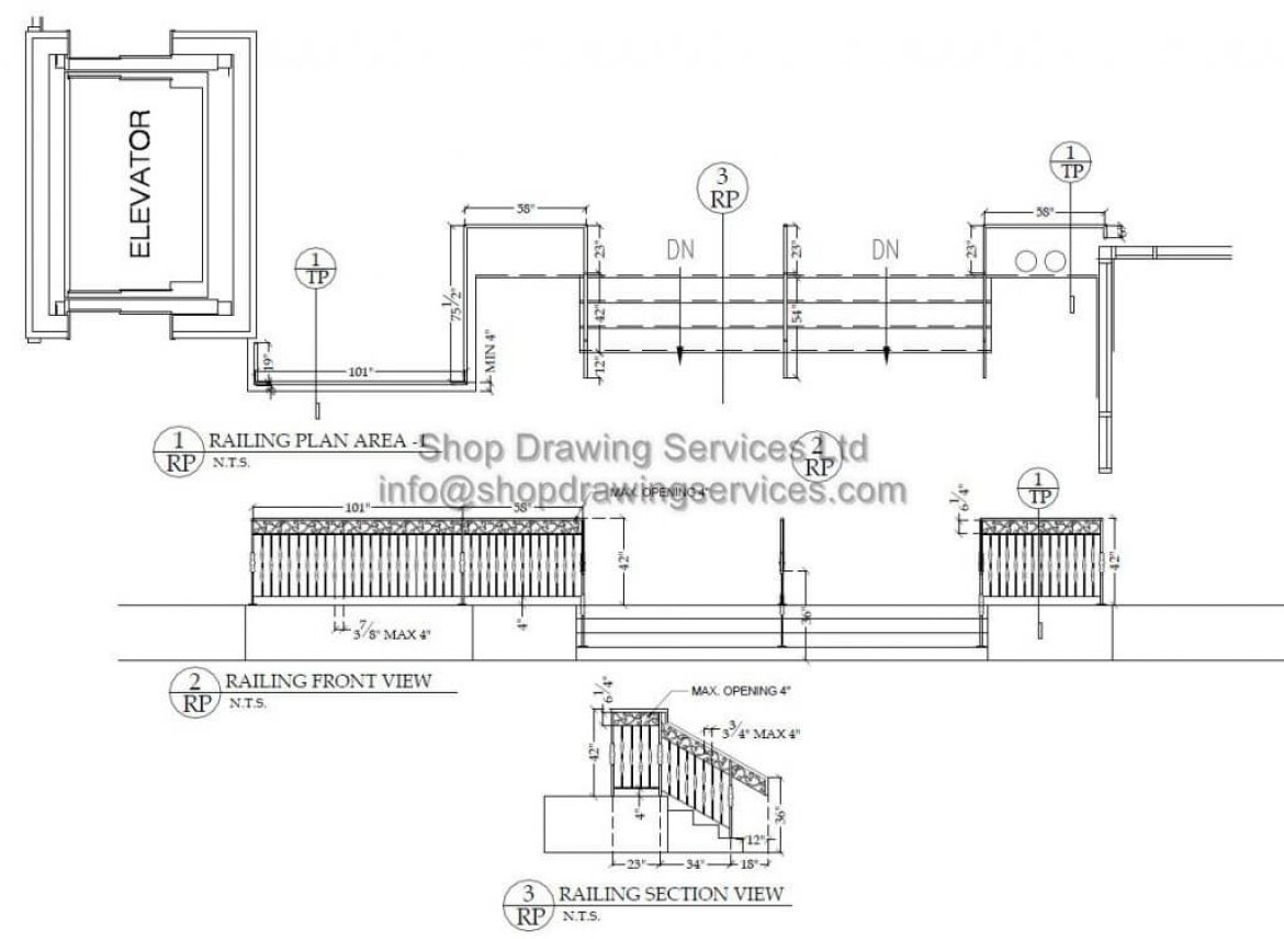 Outside Steel  Railing Shop Drawings