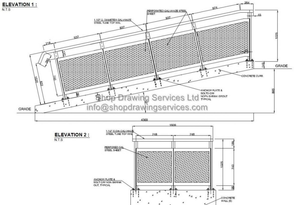 Perforated Railing Shop Drawings
