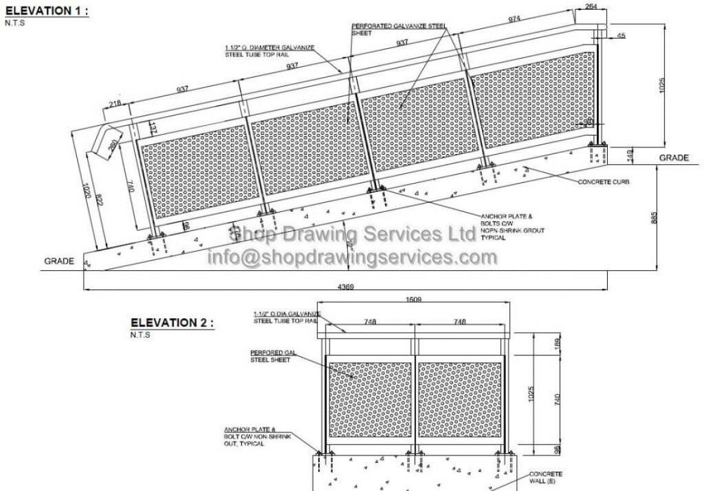 Perforated Railing Shop Drawings