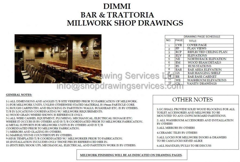 Restaurant Custom Millwork Shop Drawings