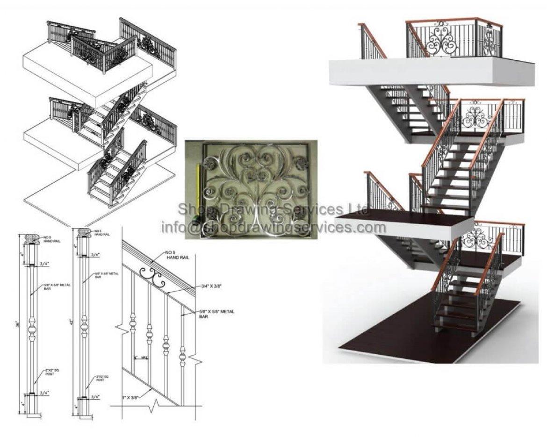Stair Railing Shop Drawings