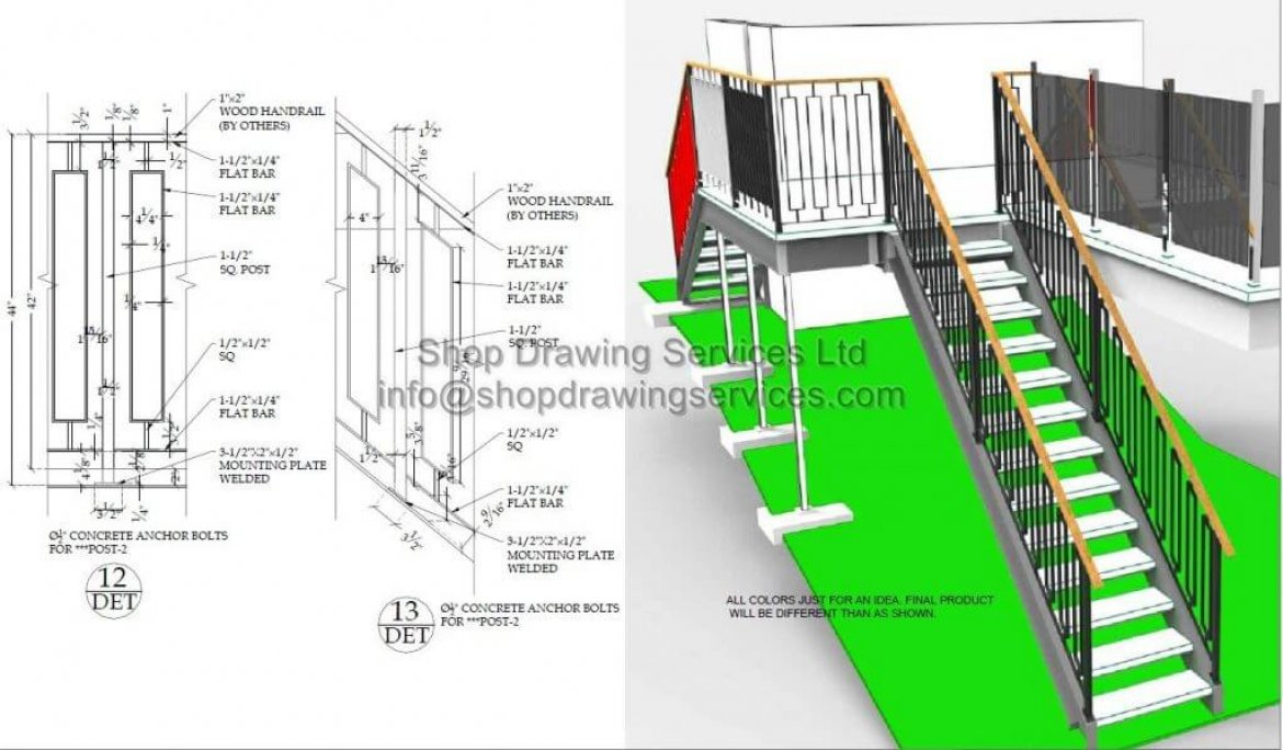 Steel Railing Deck Shop Drawings