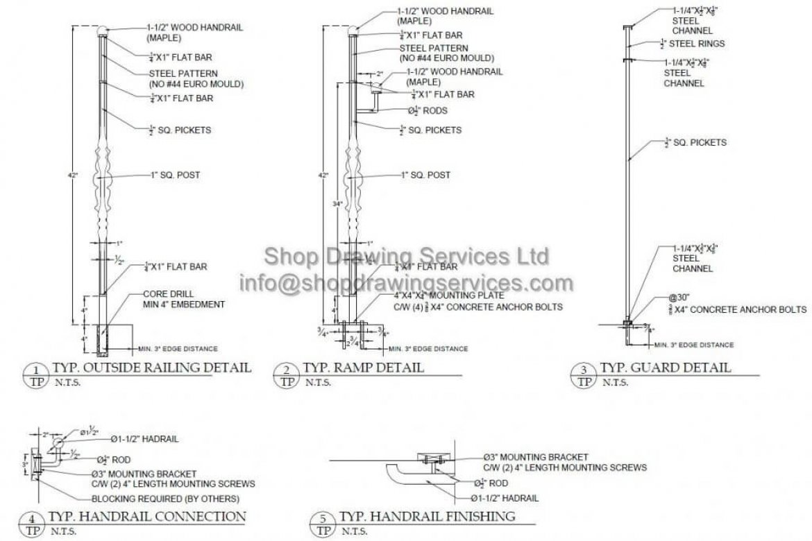 Steel Railing Shop Drawings