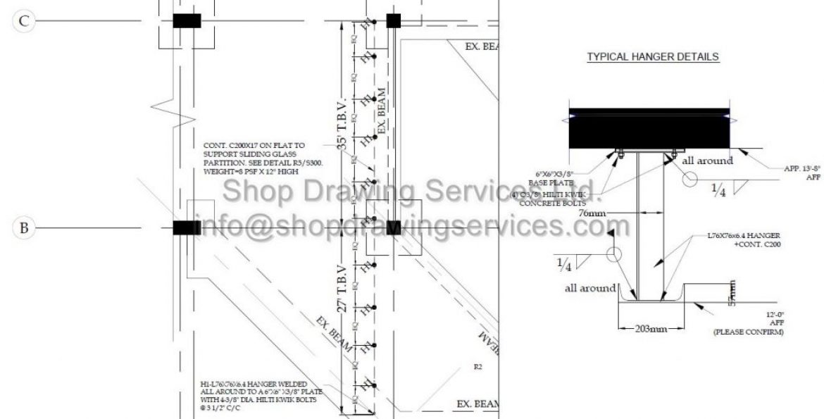 Steel Support Shop Drawings